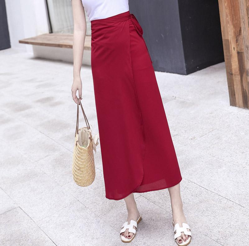 一片式半身裙女夏季2019波西米亚长裙纯色度假系带裹裙雪纺沙滩裙