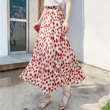 碎花裙夏半身长裙女2020气质波点裙高腰大摆裙宽松A字雪纺半身裙