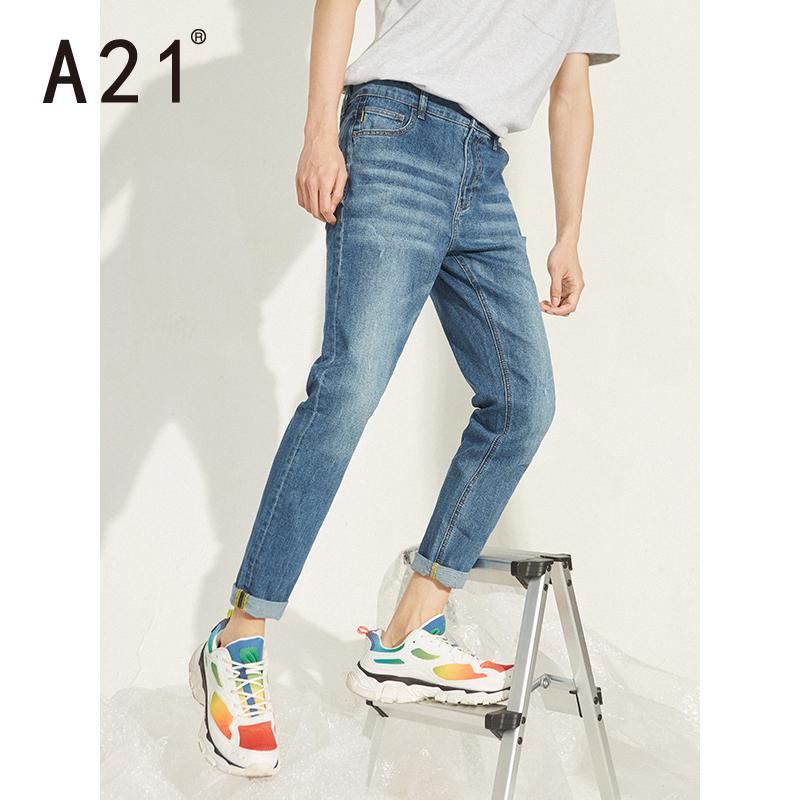 A21秋冬季2019新款潮流男裤子 男士蓝色牛仔裤暖男穿搭小脚长裤图片