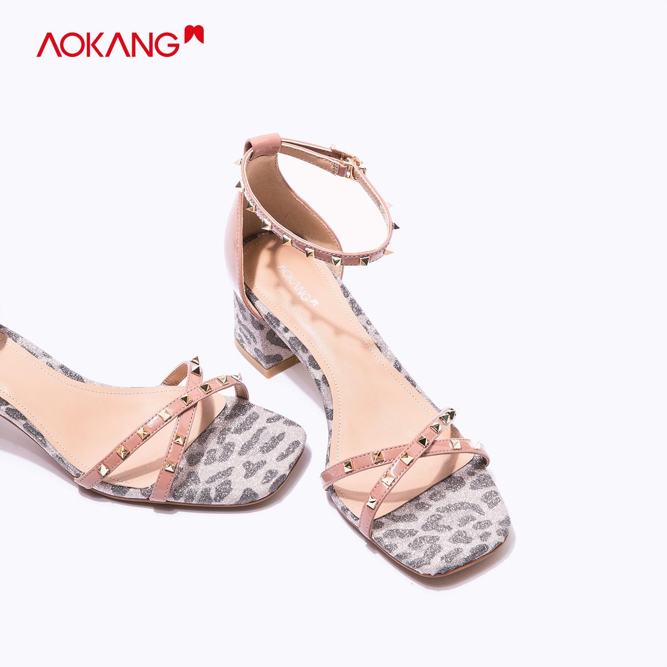Aokang womens shoes summer new fashion temperament European and American rivet leopard pattern retro square head thick heel high heel sandals peep toe