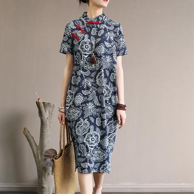 棉麻连衣裙2020新款中国风青花瓷复古夏季宽松遮肚亚麻改良旗袍裙
