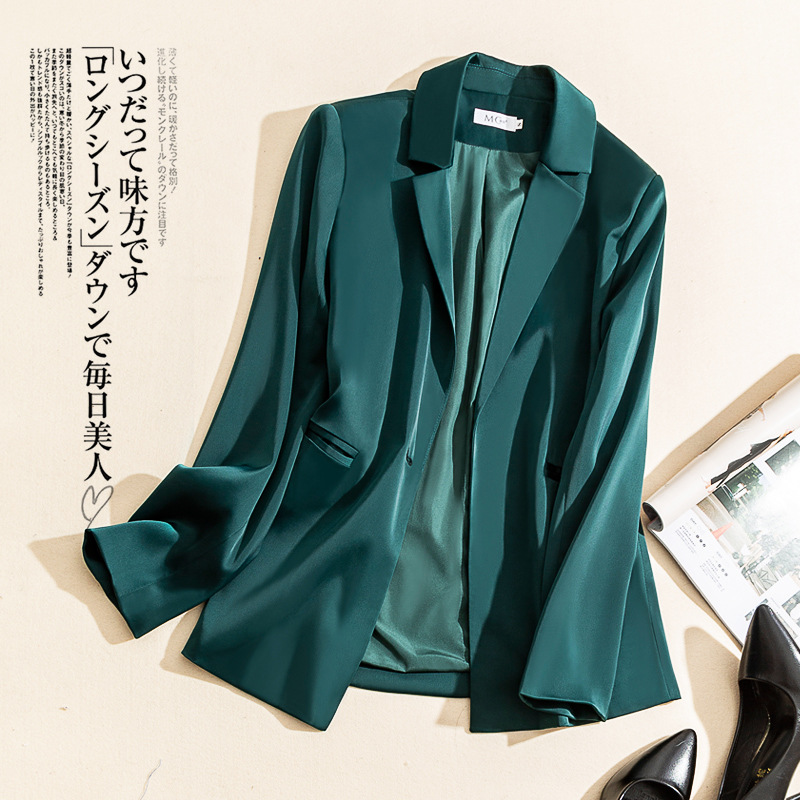 Triacetic acid Blazer womens spring and summer 2020 new Korean version of satin slim fit ol style suit top