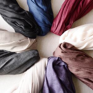 文艺素色棉麻围巾女士春秋季简约长款装饰男薄款冬季围巾披肩两用