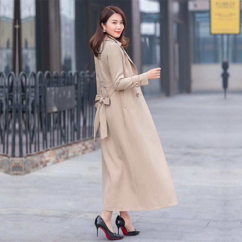 2020流行春季时尚超长款风衣女气质加长款大衣外套过膝修身英伦风