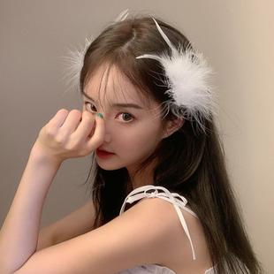 森系仙氣羽毛髮夾韓國個性甜美白色髮卡頭飾超仙古風少女髮飾配飾