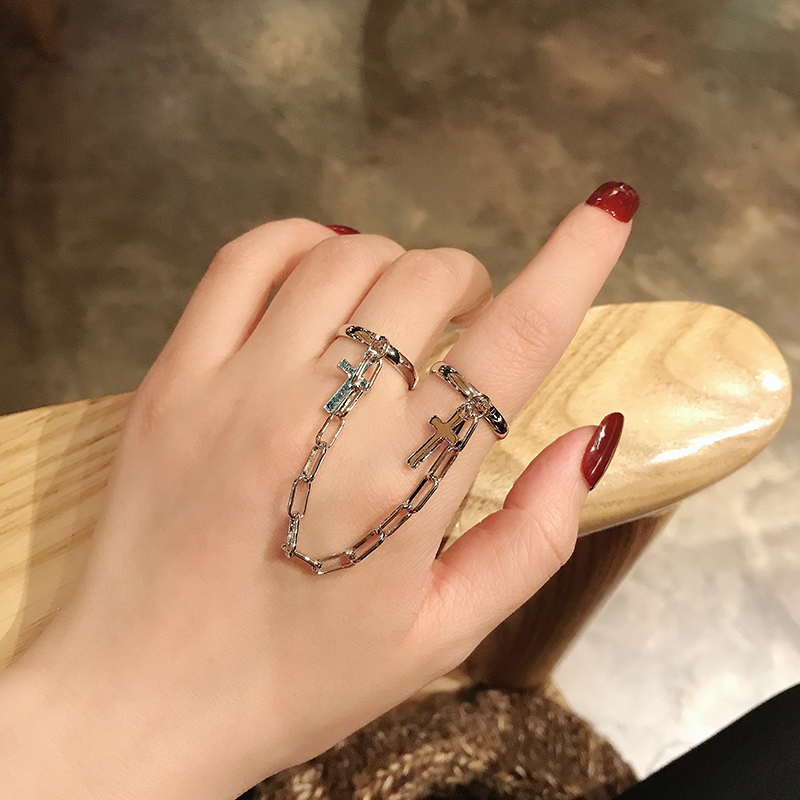 券后19.80元个性朋克风十字架连体链条开口戒指超酷蹦迪食指双指环暗黑系男女