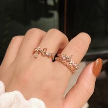 简约小清新甜美少女心花朵开口可调节戒指女时尚个性学生食指环