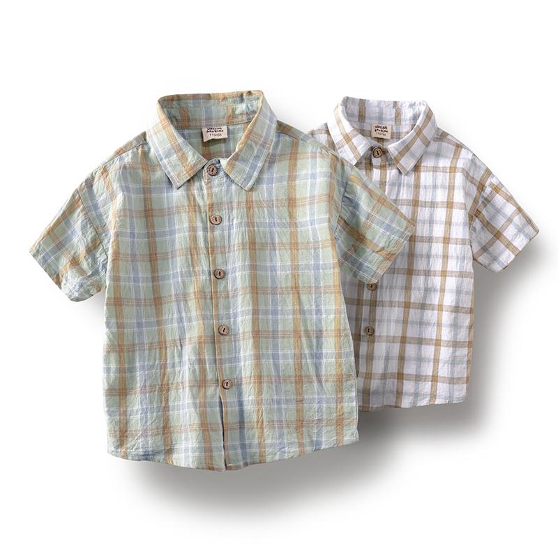 班比纳童装夏季2021新款男童衬衣纯棉中大童儿童短袖格子衬衫潮流