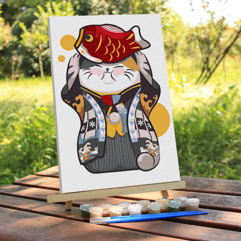 招财 猫数字油画小尺寸迷你diy简单手工填色儿童卡通涂色画礼物