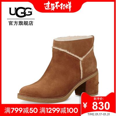 UGG秋冬季女士经典靴埃莉系列粗方跟溢毛短靴 1095049