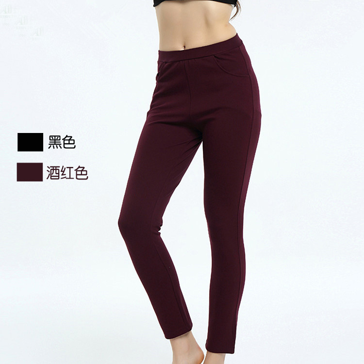The physical store sells autumn and winter bamboo fiber womens casual pants, thick trousers and non Plush outer pants, Article No. 1015