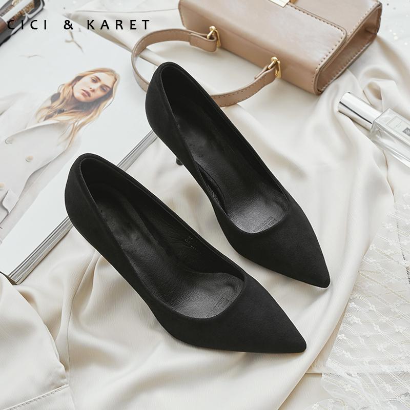 小CK高跟鞋女细跟3-5cm百搭黑色职业工作绒面尖头单鞋女2019春款