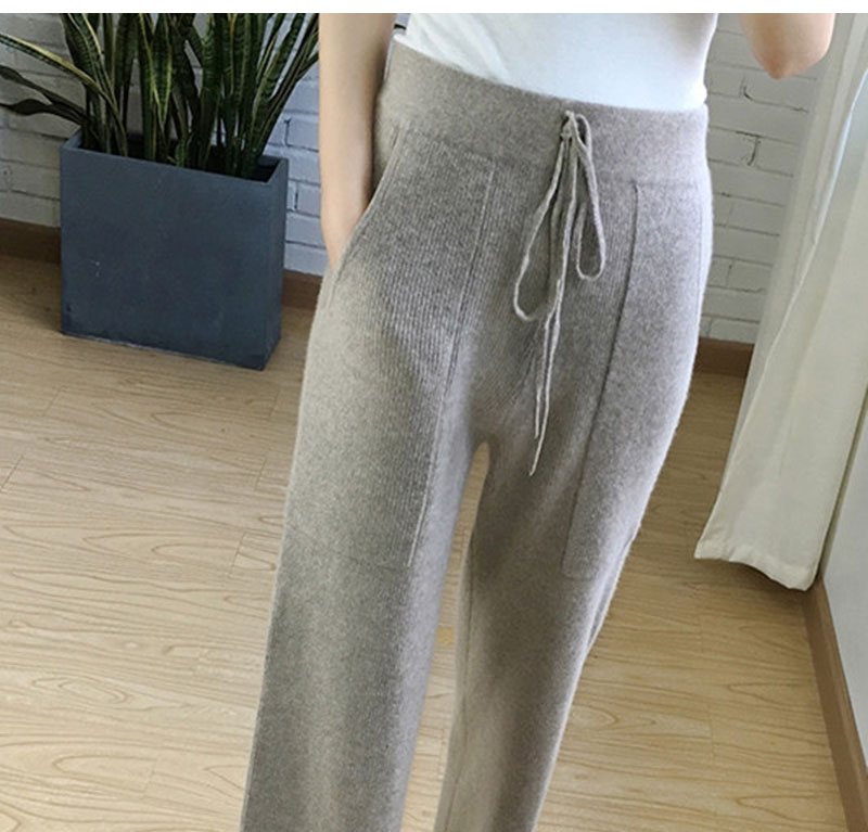 High waisted cashmere wide leg pants womens trousers thickened knitted pants casual wool pants loose and pilling free