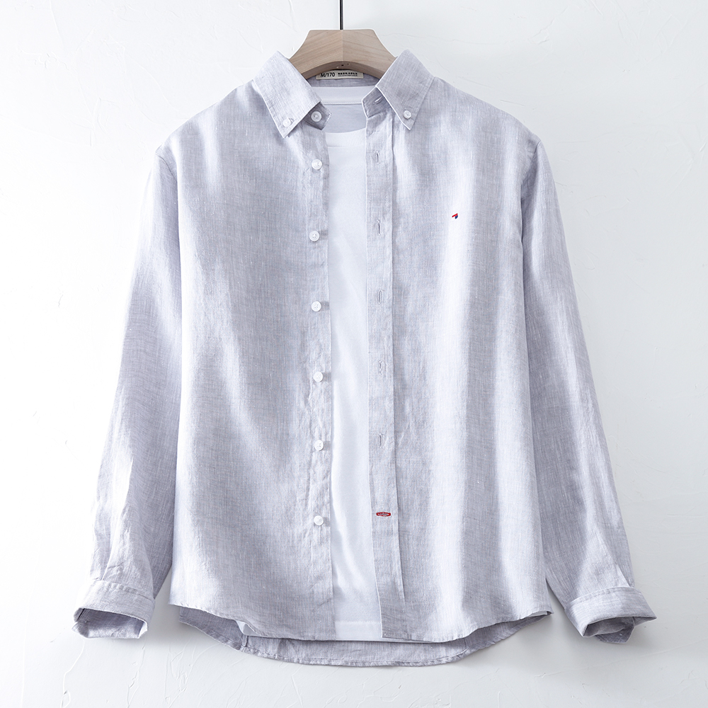 Summer Lapel Linen Shirt Mens casual long sleeve thin loose small embroidery simple fashion cotton linen shirt