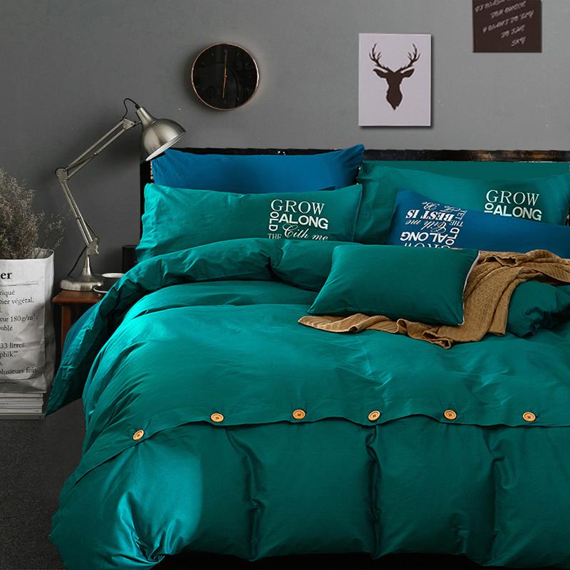 加厚北欧简约全棉四件套1.8m纯色纯棉床单被套床笠2.0米家纺4件套11-05新券