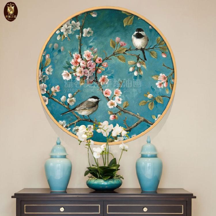 經典圓形畫手繪花鳥吉祥油畫客廳別墅玄關臥室餐廳茶館喜鵲裝飾畫