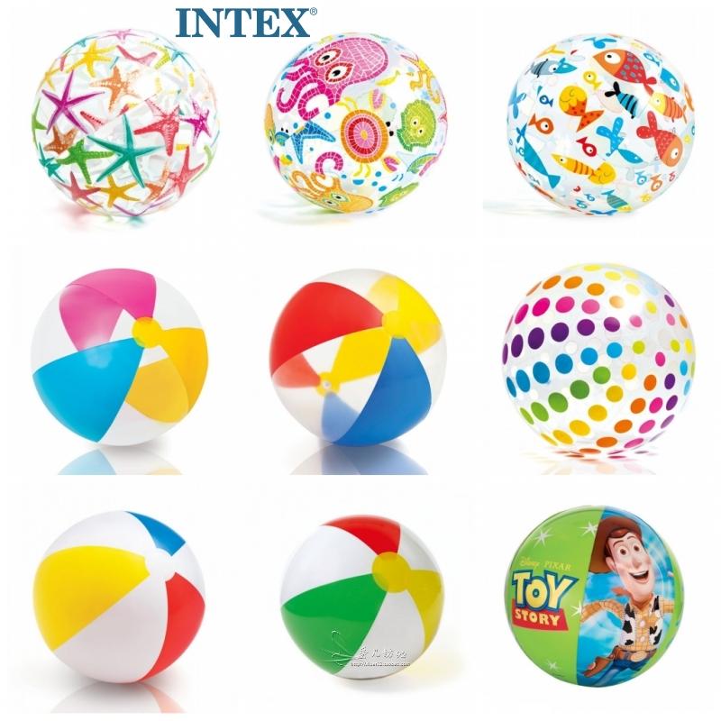[INTEX充气球沙滩球] детские [早教游泳水球塑料球水] верх [玩具] разноцветный [球海洋球]