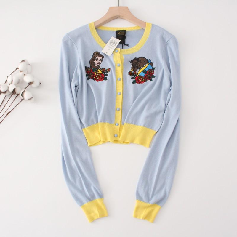 外贸尾货 D尼S100%棉春秋圆领刺绣长袖针织女士上衣 外搭短款开衫