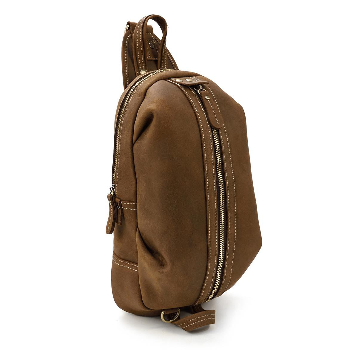 Retro mens leather chest bag crazy horse skin messenger bag mens out shoulder bag large capacity sports bag 1016