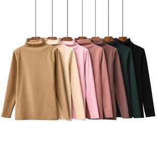 秋冬新款德绒女装自发热加绒打底衫女家居修身大码保暖高领t恤女