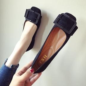 单鞋女时尚欧美风2020春夏季新款大码绒面浅口方头平跟平底女鞋子