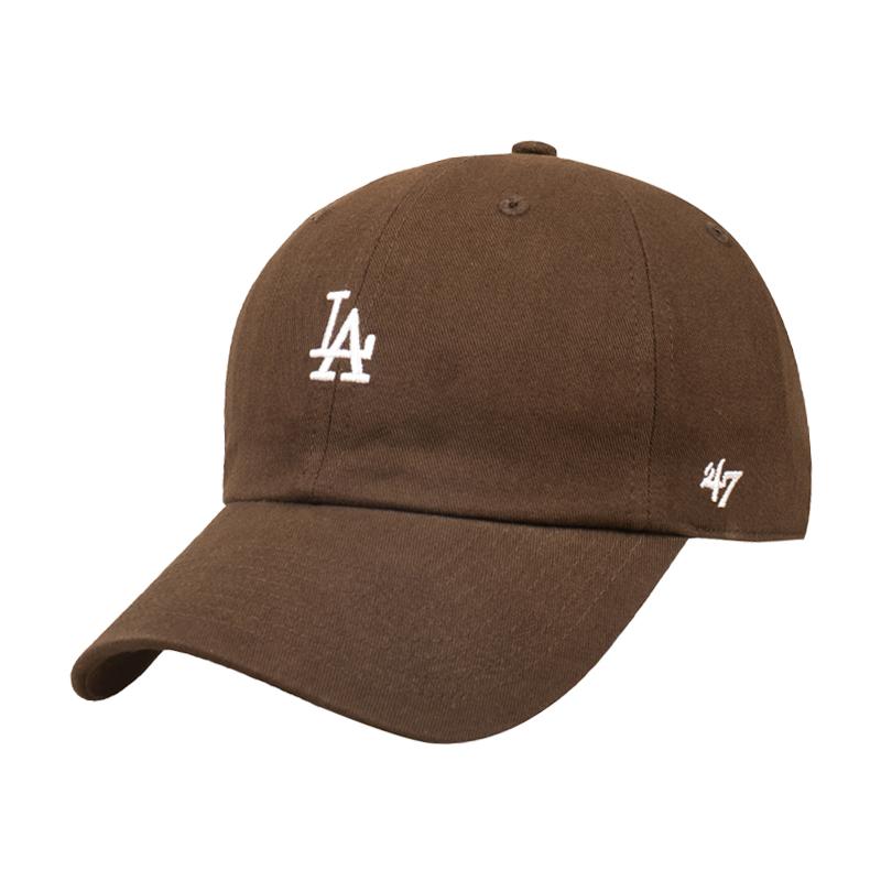 47帽子潮mlb软顶小标NY棒球帽男女咖啡棕色夏季防晒遮阳鸭舌帽la