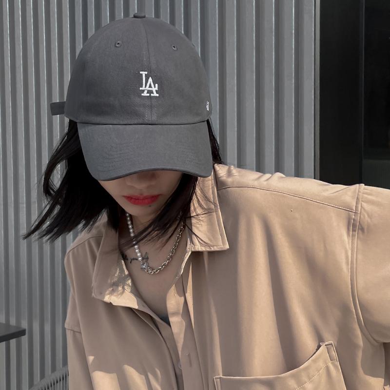 47brand软顶灰色棒球帽ny防晒帽女夏遮阳小标LA鸭舌帽薄款帽子