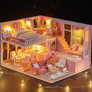 diy小屋暖暖小时光手工制作小房子玻璃别墅木质拼装模型生日礼物
