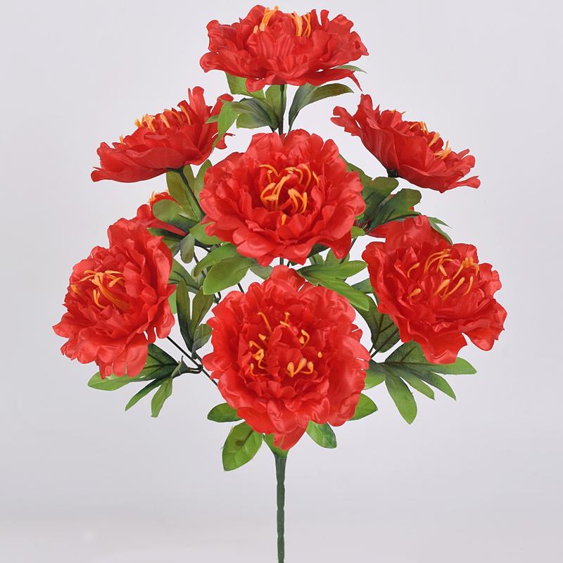 仿真花束9头富贵牡丹花大朵假花客厅落地摆件绢花塑料花干花盆栽