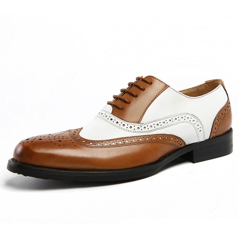 英伦复古布洛克皮鞋男黑白双色拼接雕花牛津鞋真皮尖头雕花结婚鞋