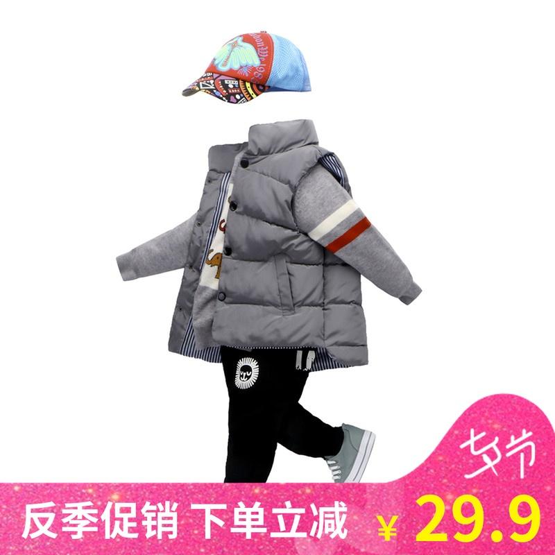 反季促销秋立领儿童棉马甲冬童装马夹中大男童加厚保暖外穿背心潮