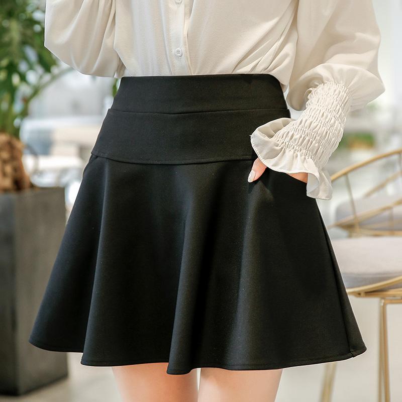 New anti gloss skirt high waist short skirt stretch slim A-line sun skirt womens black skirt in spring and summer of 2019