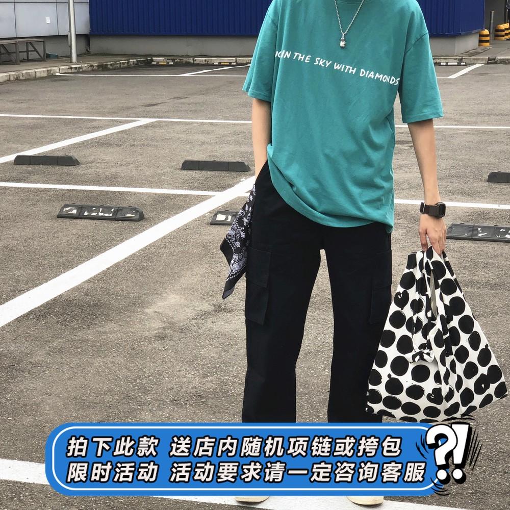 (用130元券)whoop纯色多口袋潮牌复古工装裤