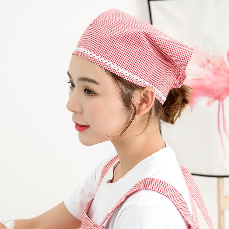 家居厨房头巾女防油烟厨房帽子韩版成人饭店服务员工作防尘三角巾