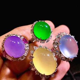 翡翠直播珠宝奇石高冰观音佛公吊坠紫罗兰手镯玻璃种蓝水平安扣女图片