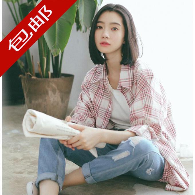 原宿风格子衬衫女韩版宽松20118春装新款长袖衬衣学生bf外套百搭