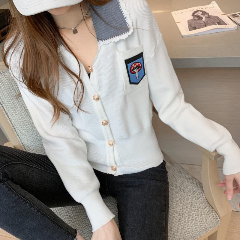 实拍 2020秋冬新款加厚韩版甜美学院风毛衣开衫外套女刺绣针织衫