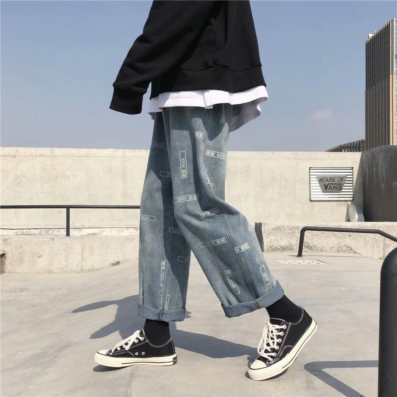 秋季潮牌阔腿牛仔裤韩版宽松潮流直筒裤老爹男女长裤子潮BK35-P38