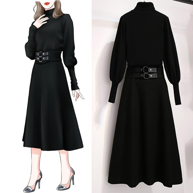 特大码女装秋冬装新款胖妹妹心机两件套减龄显瘦洋气连衣裙子套装