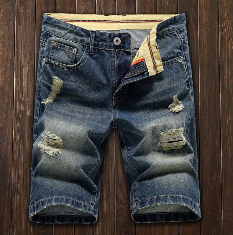 Summer thin fashion brand beggars pants, loose and versatile jeans shorts, mens middle pants, holed breeches, new Capris