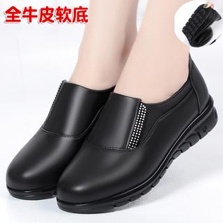 真皮单鞋平底2021年新款春秋季网红蜻蜓百搭软底舒适大码妈妈女鞋