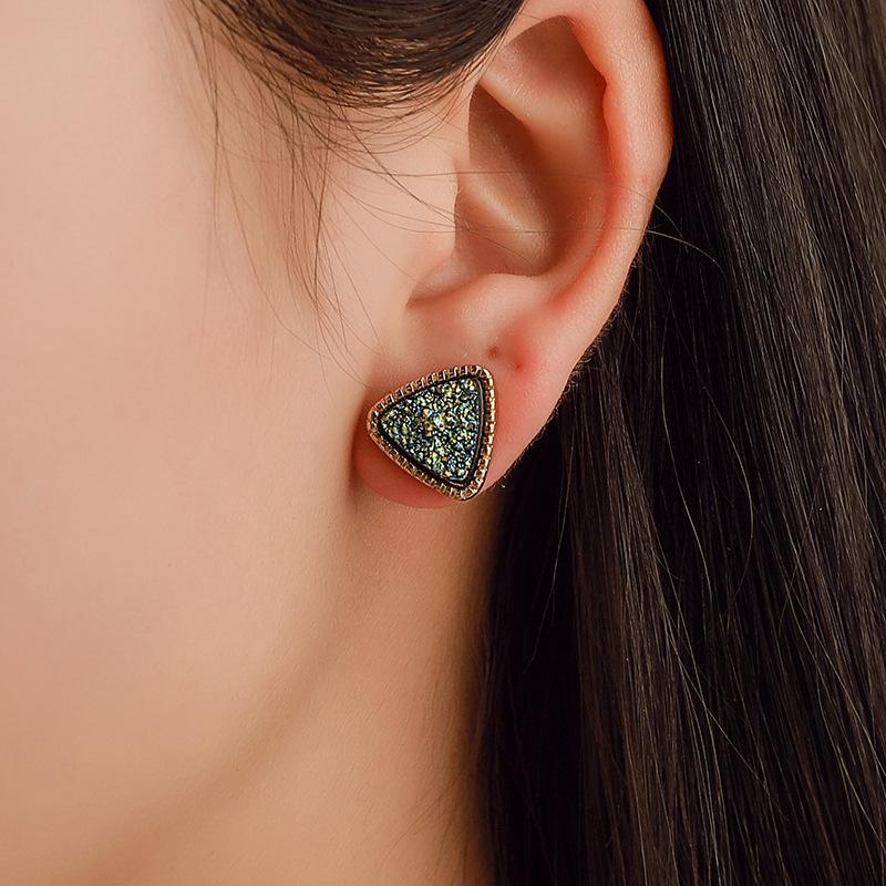 韩版原宿风耳钉 简约三角形磨砂耳钉 幻彩星空时光宝石满天星耳饰