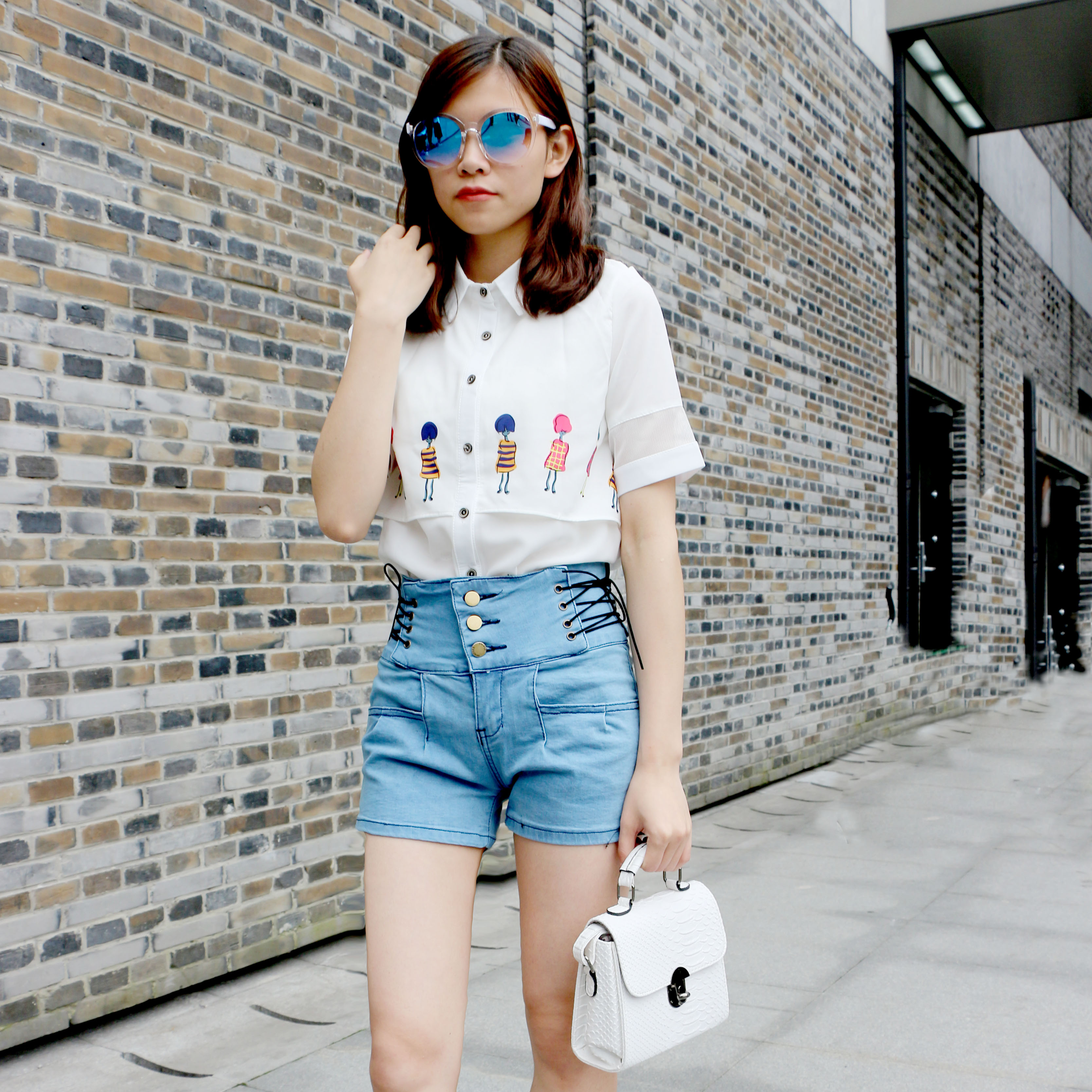 Fake two-piece Lapel fresh Lilliputian print short sleeve white shirt womens high waistband slim denim shorts suit