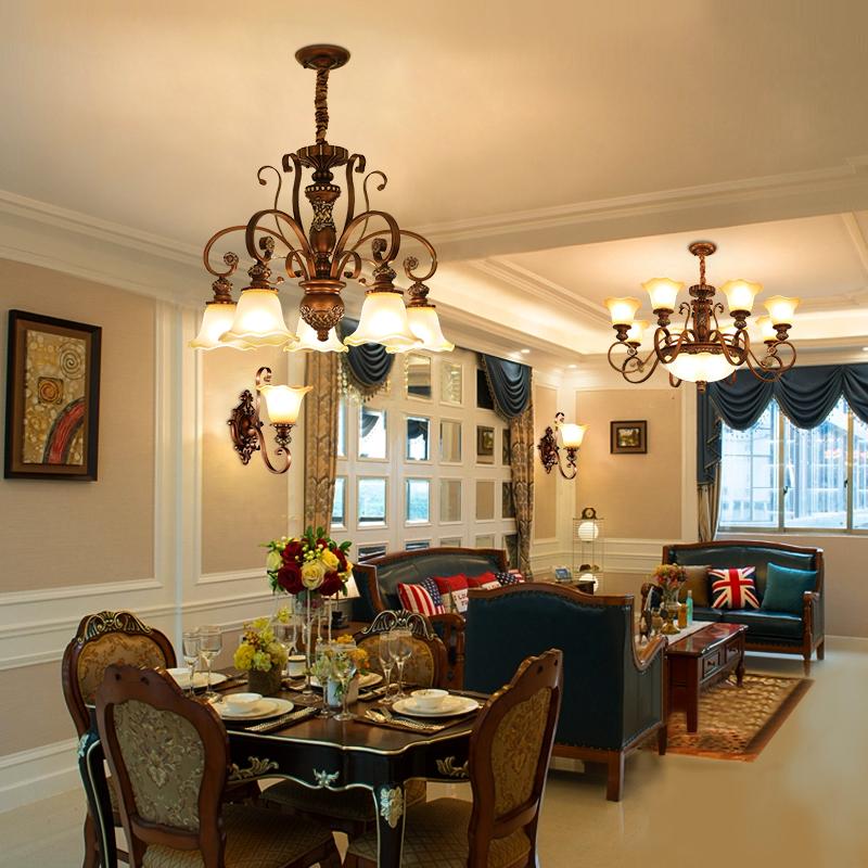 美式客厅复古铁艺田园轻奢主灯