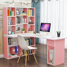 电脑台式桌家用书桌简约学生卧室转角书架书柜一体组合儿童写字桌
