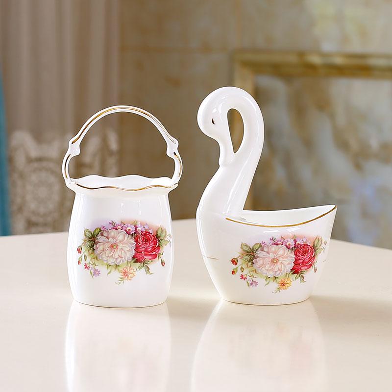点特唐山骨瓷花篮天鹅装小调羹大汤勺汤匙陶瓷收纳筒创意摆件餐具