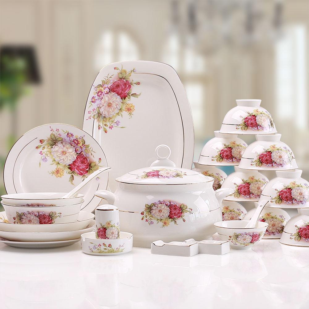 56頭唐山骨瓷餐具套裝 碗方盤碟 高檔歐式金邊牡丹結婚喬遷紅玫瑰
