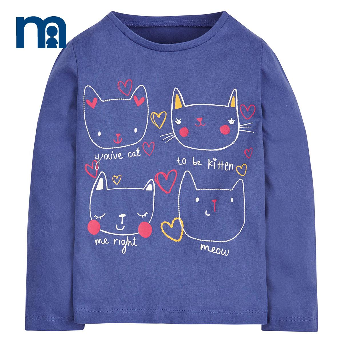 mothercare英國 女童長袖T恤純棉 貓咪款 女孩打底上衣