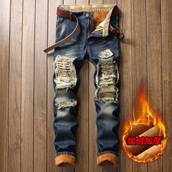 现货主推冬季大码复古色古惑仔牛仔裤破烂补丁大码修身小脚812P72