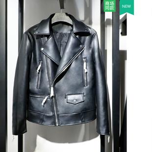 骑士皮衣 男装 1966 ZA家新款 仿皮机车夹克外套01966300800修身 300